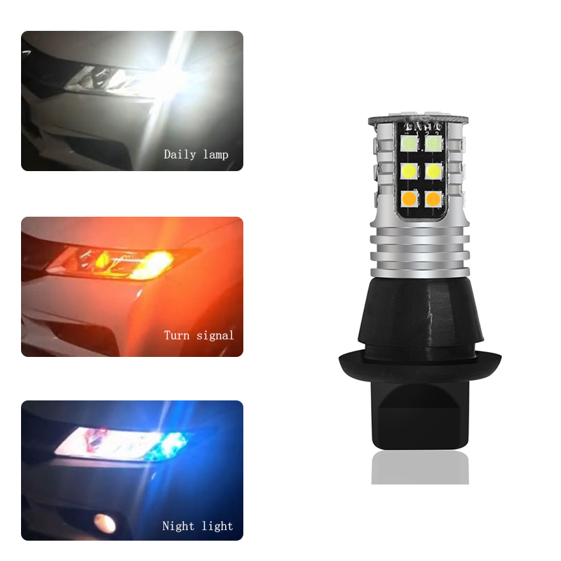 White/Amber Py21W BAu15S 1156 <font><b>DRL</b></font> <font><b>LED</b></font> Daytime <font><b>Turn</b></font> <font><b>Signal</b></font> Light For VW <font><b>Passat</b></font> B5 <font><b>B6</b></font> Polo Golf 4 5 Chevrolet Cruze Lada Granta image
