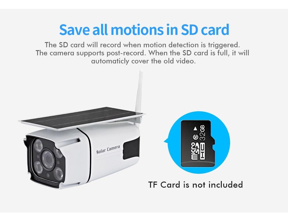 Solar powered câmera de segurança ip 1080p