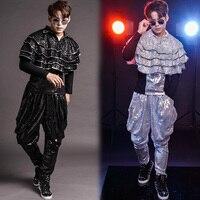 3 piece Set Nightclub Bar Men Singer Shelf Drum Men Hip Hop Dance Modern Dance Show Serve Personality Paillette Cloak Harun Pant