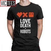 Vintage amor muerte Robot camiseta hombres cuello redondo puro algodón camiseta animación Terror Punk Vaporwave 3D estampado