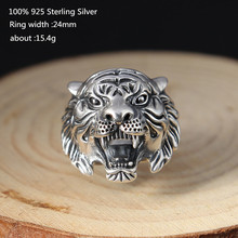 Thai Silver Unique Ring Man Personality Vintage Exaggerated Tiger Ring for Men Women 925 Sterling Silver Open Ring Jewelry s925 pure silver vintage ring men s personality gold wings patron saint silver ring
