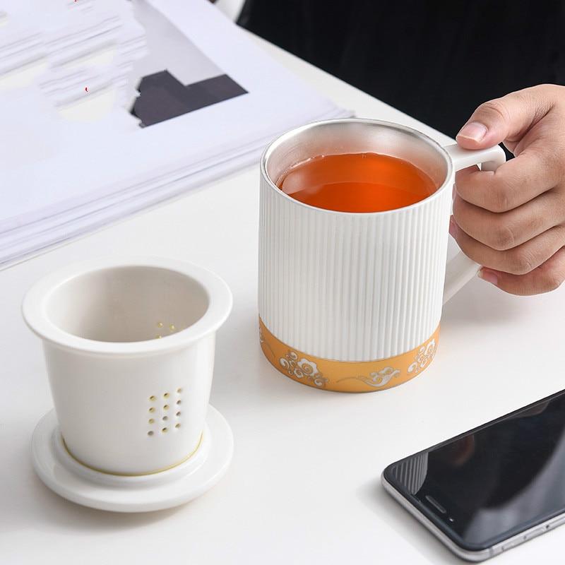 Белая фарфоровая офисная чайная чашка с крышкой, серебряная чашка, серебряная керамическая чашка для воды, разделительная чашка для чая, кр