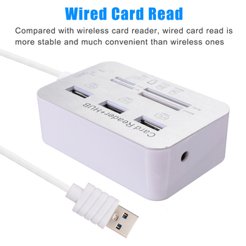 For PC Laptop Notebook Card Reader USB 3.0 3 Port Hub MS SD M2 TF Reading Multi-In-1 Aluminum Portable Cards Read Device Mayitr