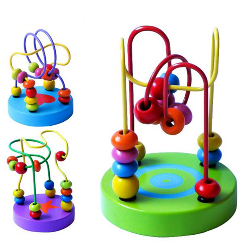 New Design Baby Colorful Wooden Mini Around Beads Wire Maze Math Toys Children Kids Toddler Educational Toy