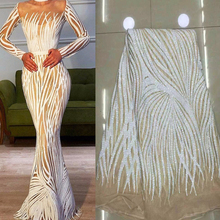 Off White African Lace Fabric 2020 High Quality Lace with Sequins lace Fabric French Net Nigerian Lace Fabrics for Dress JL916