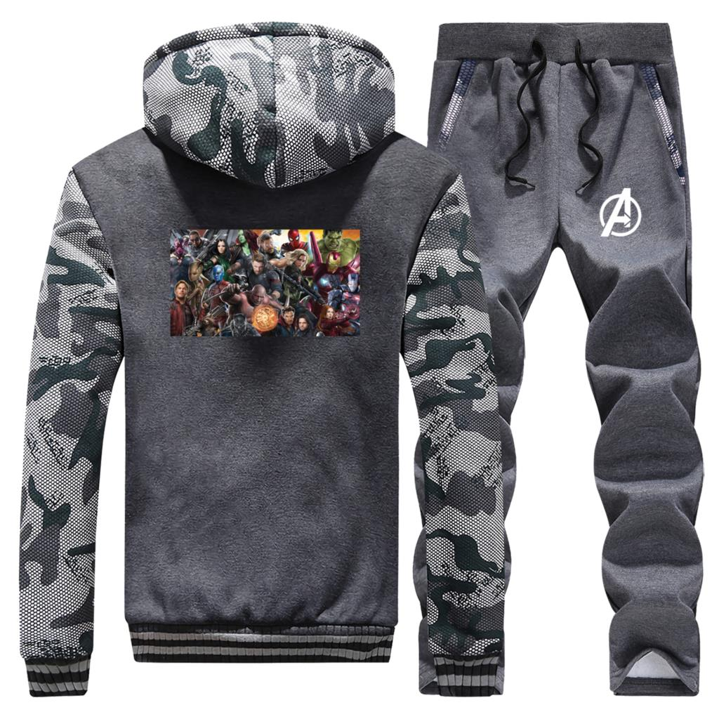 Superhero The Avengers 2019 New Winter Men Hoodies Fashion Camouflage Coat Thick Suit Warm Jackets Sportswear+Pants 2 Piece Set