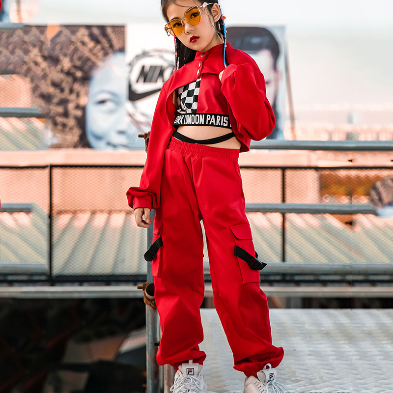 3 Pieces/ Set Girls Jazz Dance Clothes Children Hip Hop Red Suit Modern Street Dance Show Performance Clothing 110-180cm DL5018