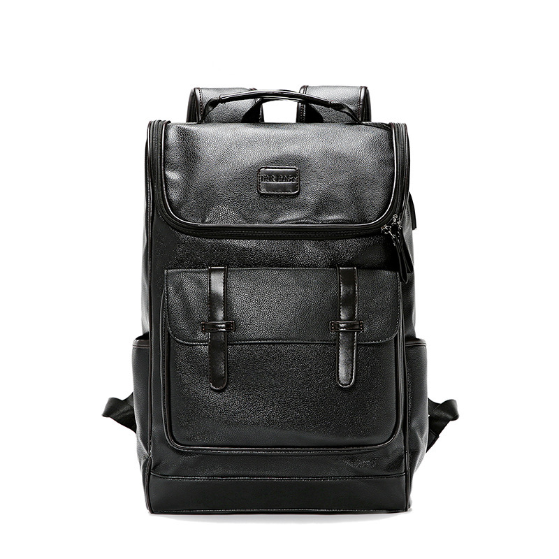 Fashion classic Korean men's backpack usb rechargeable leather backpack outdoor leisure backpack student computer bag Mochila image
