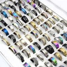 100 個ミックススタイルステンレス鋼リング卸売男性チタン鋼古典的なヴィンテージ声明女性のリングパーティージュエリー