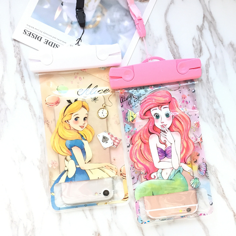 Mermaid Mickey Minnie SUP Waterproof Mobile Bags With Strap Dry Pouch Cases Cover For IPhone X 7 8P Samsung S9 S8 Snowproof Case