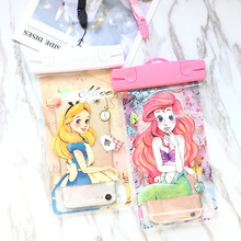 Mermaid Mickey Minnie SUP Waterproof Mobile Bags with Strap Dry Pouch Cases Cove