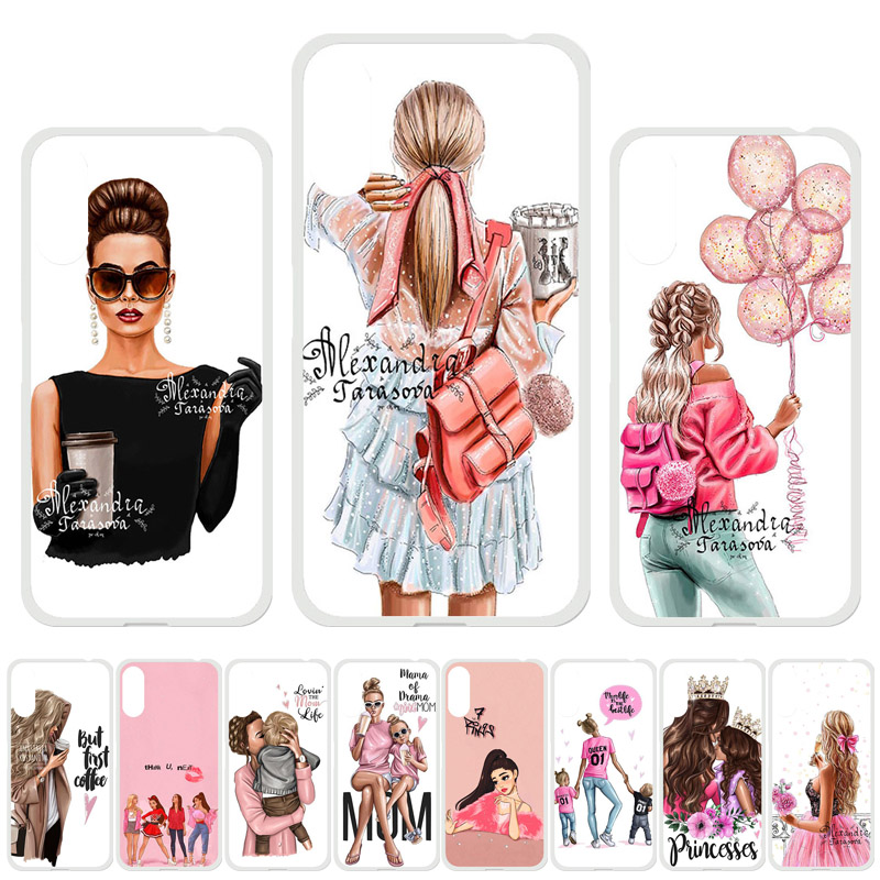 Uppbo TPU <font><b>Case</b></font> For <font><b>Doogee</b></font> Y8C <font><b>Cases</b></font> Black Brown Hair Baby Mom Girl <font><b>Silicone</b></font> Soft Cover For <font><b>Doogee</b></font> N10 Y8 <font><b>X70</b></font> X60L X20 Coque Bag image