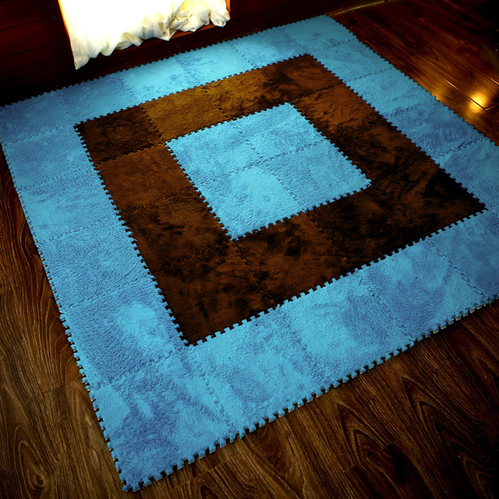 H037dc728ac1b4852adc99b50a1ef89daW Play Mats 25X25cm Kids Carpet Foam Puzzle Mat EVA Shaggy Velvet Baby Eco Floor 7 colors 10.30