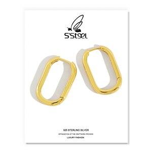925 Sterling Silver Hoop Earrings For Women Gold Ellipse Aretes Boucle D'oreille Femme 2019 Minimalist Korean Brincos Jewelry