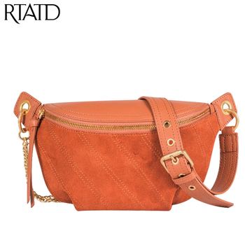 Women Genuine Leather Shoulder Bags Chic Travel Crossbody Messenger Bags Patchwork Matte Design Chain Purse For Female Chest Bag