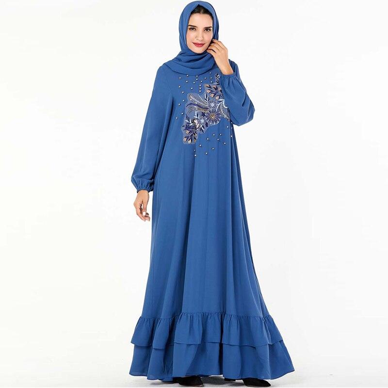 Blue Abaya Dubai Turkish Hijab Muslim Dress Abayas For Women Caftan Marocain Kaftan Islamic Clothing Tesettur Elbise Islam Robe