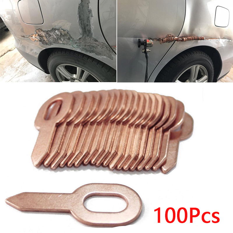 100pcs 55.5mm Car Copper Plated Dent Puller Rings Auto Shape Repair Machine Spot Welding Body Panel Washer Removal Repair Tool