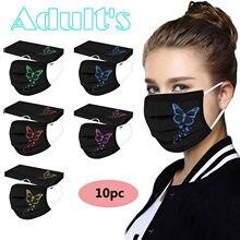 10 pcs adulto borboleta impresso máscara protetora descartável máscaras faciais máscara jetable adulto respirante imprimé noir
