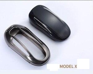 Image 5 - 1Pcs Autosleutel Case Cover Met Riem Aluminiumlegering Sleutel Shell Opbergtas Protector Voor Tesla Model S Model 3 Model X