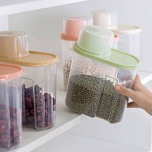 Image 2 - PP Lebensmittel Lagerung Box Kunststoff Klar Container Set mit Gießen Deckel Küche Lagerung Flaschen Gläser Getrocknete Körner Tank 1,9 L 2,5 L H1211
