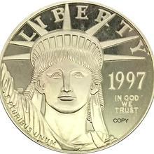 Соединенные Штаты Америки 100 долларов США Платина Орел Bullion Coinage 1997 латунь металл или покрытие серебро Имитация монеты