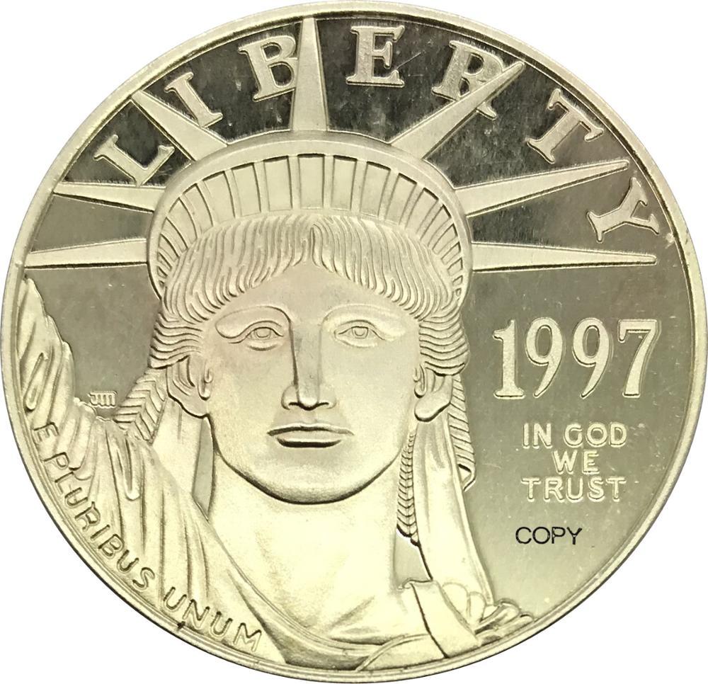 Estados unidos da américa 100 dólares americano platina águia bullion cunhagem 1997 w latão metal ou banhado a prata cópia moeda