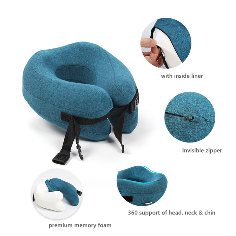 u shape memory foam travel pillow foldable head neck adjustable chin support cushion for sleeping on office airplane car