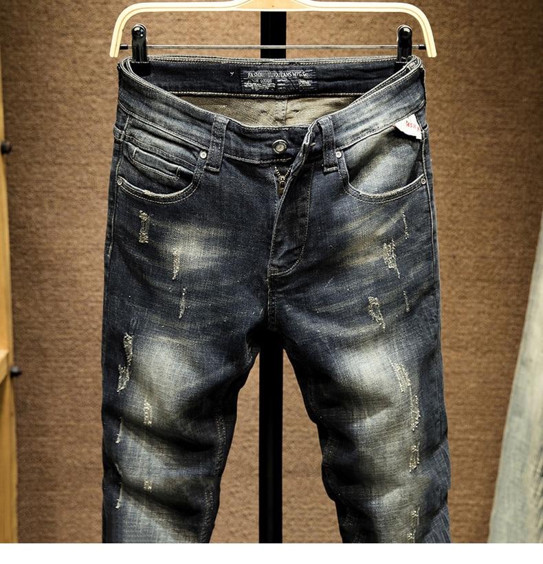 KSTUN Punk Jeans Men Slim Fit Stretchy High Street Wear Retro Blue Casual Denim Jeans Pants Mens Biker Jeans Vintage Spring and Autumn 13