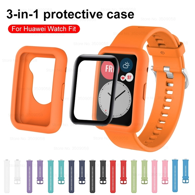 3in1 full cover protect shell for huawei watch fit strap+fiberglass soft silicone back coque for hauwei watchfit shockproof case