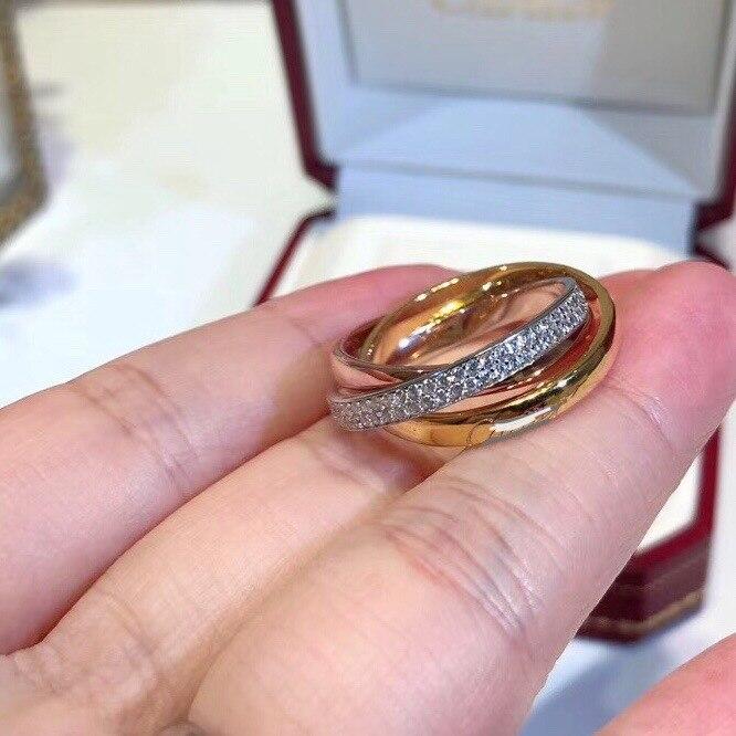 S925 argent sterling micro strass triple anneau tricolore bague pour les femmes