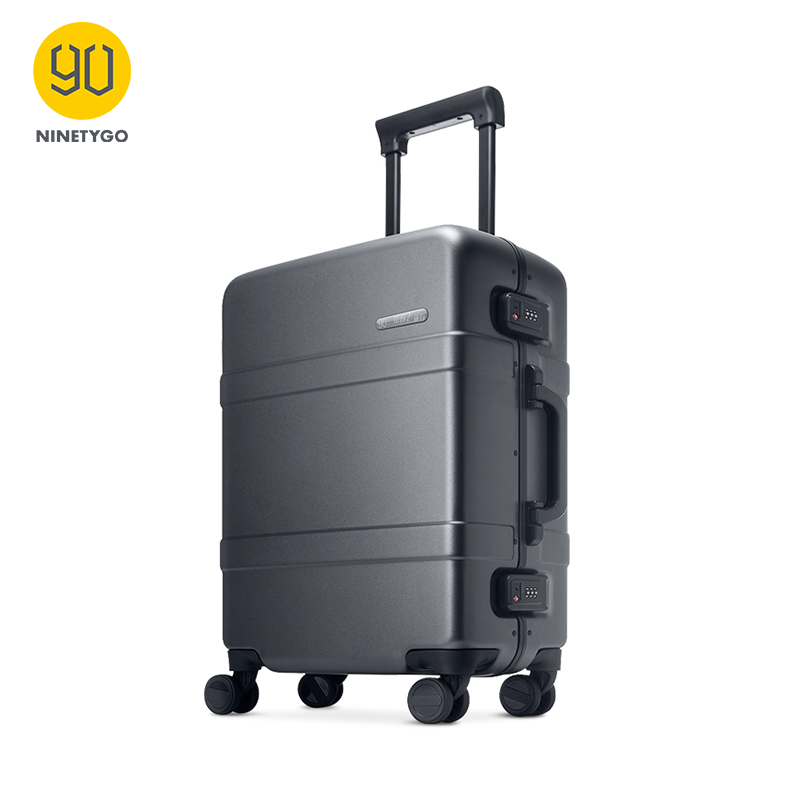 Ninetygo 90FUN 20 Inch Upgrade Aluminium Framed Koper PC Spinner Wheel Membawa Hardshell Luggage Abu-abu