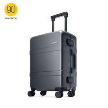 """NINETYGO 90FUN обновленный чемодан с алюминиевой рамкой, PC, Спиннер, колесо для переноски, жесткая оболочка, 2"""" /24"""", серый/красный"""
