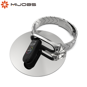 Image 1 - Metal Bracelet Mi Band 5 Strap NFC Global Version Correa Original for Xiaomi Mi Band 4 Smart Watch Mi Band 3 Stainless Wrist