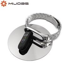 Metalowa bransoletka Mi zespół 5 pasek NFC globalna wersja Correa oryginalny dla Xiaomi Mi zespół 4 inteligentny zegarek Mi zespół 3 ze stali nierdzewnej nadgarstek