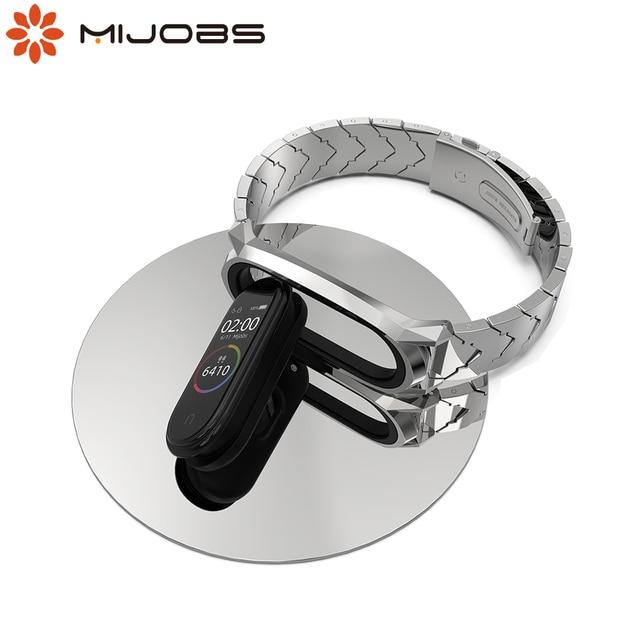 سوار معدني Mi Band 5 حزام NFC النسخة العالمية Correa الأصلي ل شاومي Mi الفرقة 4 ساعة ذكية Mi الفرقة 3 المقاوم للصدأ المعصم