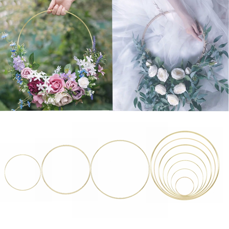 Metal Garland Catcher Round Hoop Ring DIY Wreath Craft Dreamcatcher Hoop Artificial Flower Rack Wedding Bride Handmade Wall Deco