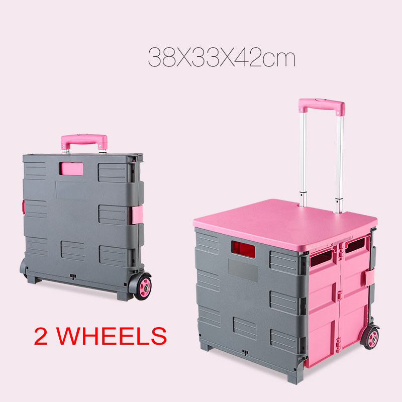 E-FOUR Mobile Folding Cart Two-Wheeled Rolling Retractable Hand Cart Collapsible Grocery Folding Utility Cart Trolley Handcart