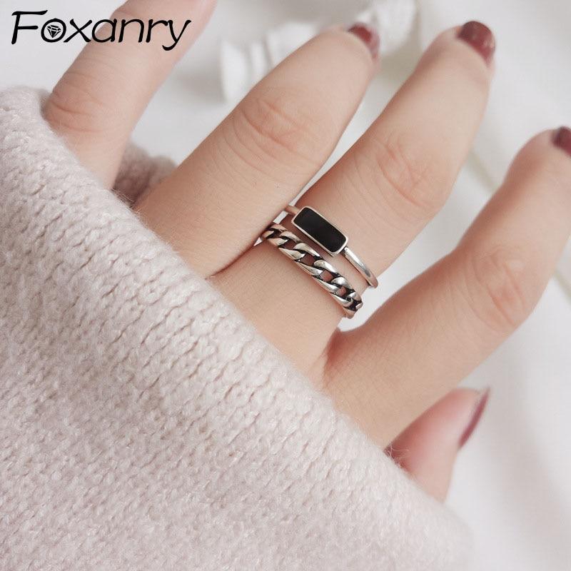 Foxanry-Anillos De Compromiso minimalistas para mujer, de Plata de Ley 925, cadena sencilla de moda geométrica, regalos de joyería para fiesta de cumpleaños