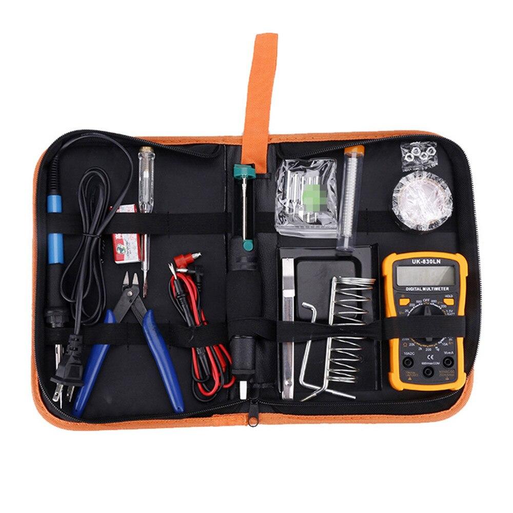 EU Plug 15PCS/Set 60W Adjustable Temperature Electric Soldering Iron Kit welding Tip Solder Wire Portable Welding Repair Tool
