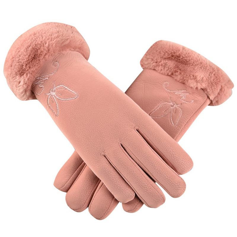 2019 New Arrival Winter Gloves Women Touch Screen Waterproof Outdoor Leather Thicken Warm Gloves Female Elastic Mittens