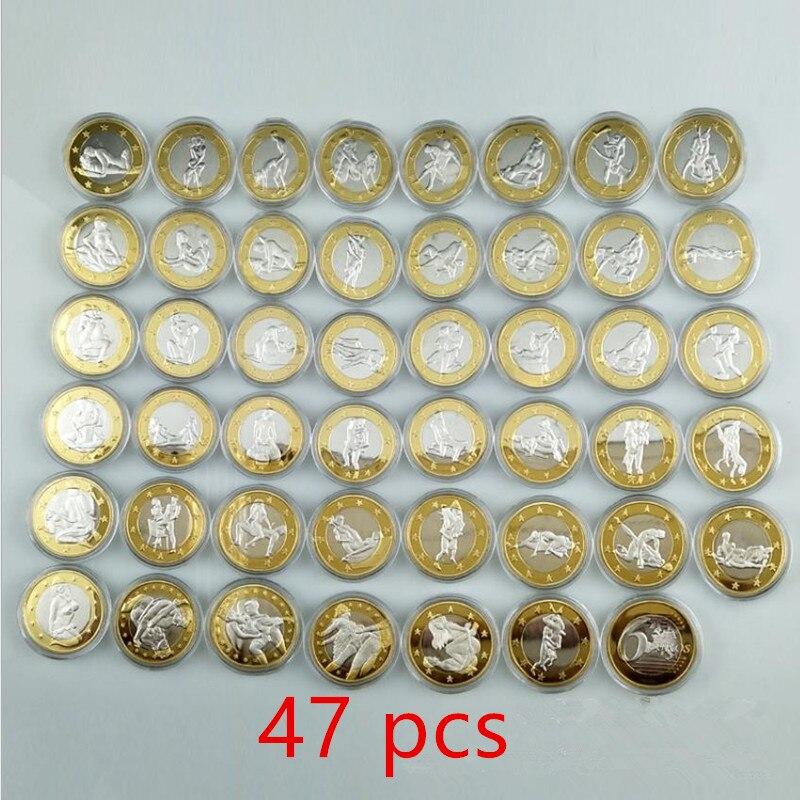 47 шт., пикантные монеты, 6 евро, Женская биметаллическая позолоченная монета, 32 мм, подарок на день Святого Валентина, подарок для влюбленных, ...