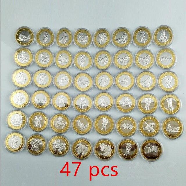 Jeu complet en métal plaqué or et argent | 47 pièces, pièces sexy 6 Euros, pour hommes bi, 32mm, cadeau pour amoureux de la saint-valentin, pièces de décoration pour jeux pour adultes