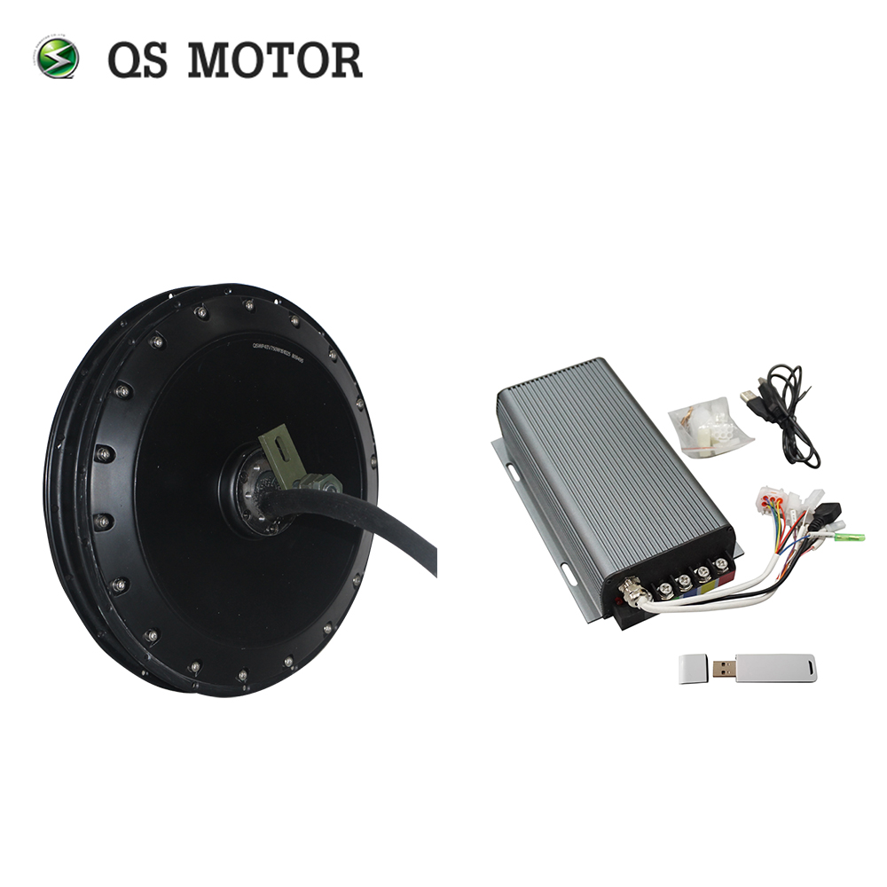 <font><b>QS</b></font> <font><b>Motor</b></font> 273 E-bike e Bicycle Hub <font><b>Motor</b></font> <font><b>4000W</b></font> 8000W peak V3 100KPH For Electric Bicycle with SVMC72200 Sin wave controller kits image