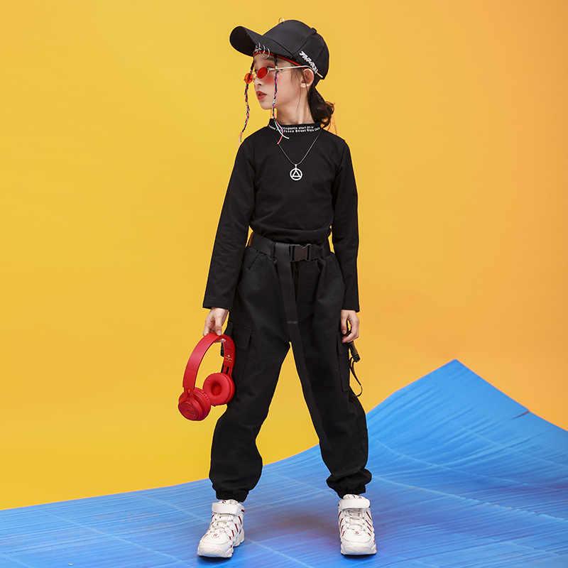 Kid Hip Hop Kleding Hoge Hals Sweater Shirt Top Crop Running Casual Broek Voor Meisjes Jazz Dans Kostuum Ballroom Kleding dragen