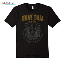 Men T shirt Twin Tiger Sak Yant Muay Thai Fashion Cotton s funny t-shirt novelty tshirt Short  Casual O-Neck