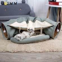 Inklapbare Removeable Kat Tunnel Buis Huisdier Interactief Spelen Speelgoed Sound Papier Ring Bel Voor Kat Fretten Puppy Speelgoed