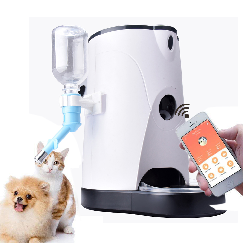 Pet Automatic Feeder Smart Food Water Dispenser with HD Camera and Video Remote Surveillance For Dogs Cats
