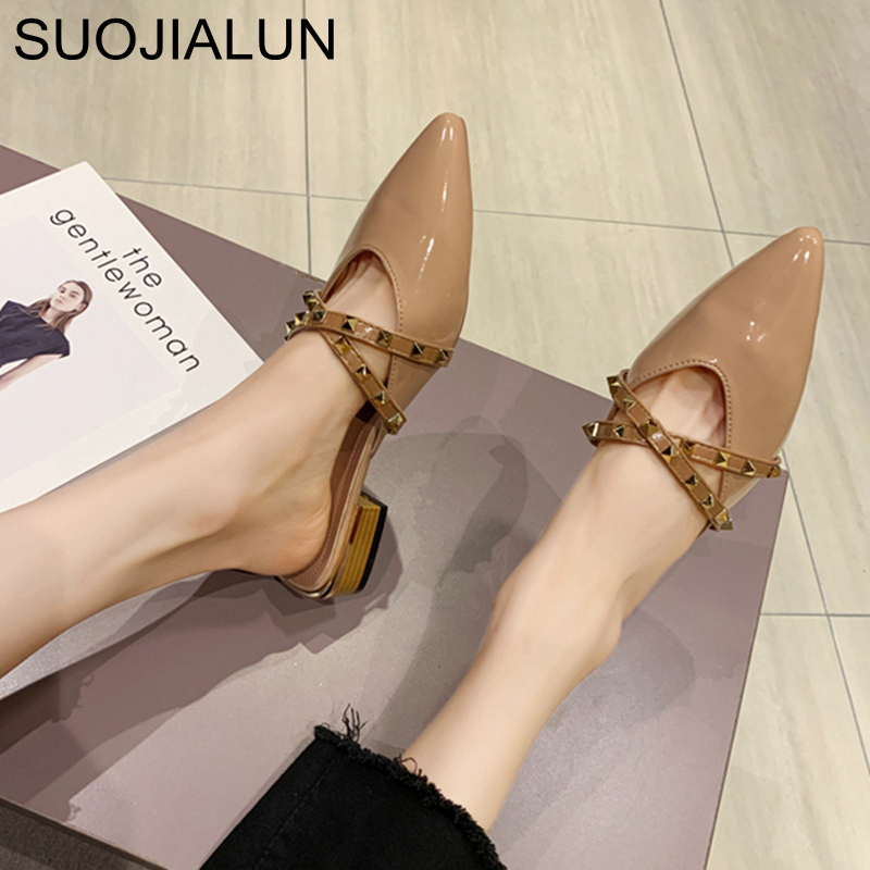 SUOJIALUN 2020 Women Slipper Fashion Rivet Cross Straps Pointed Toe Mules Shoes Low Heel Pointed Toe Slip On Summer Slides Shoes