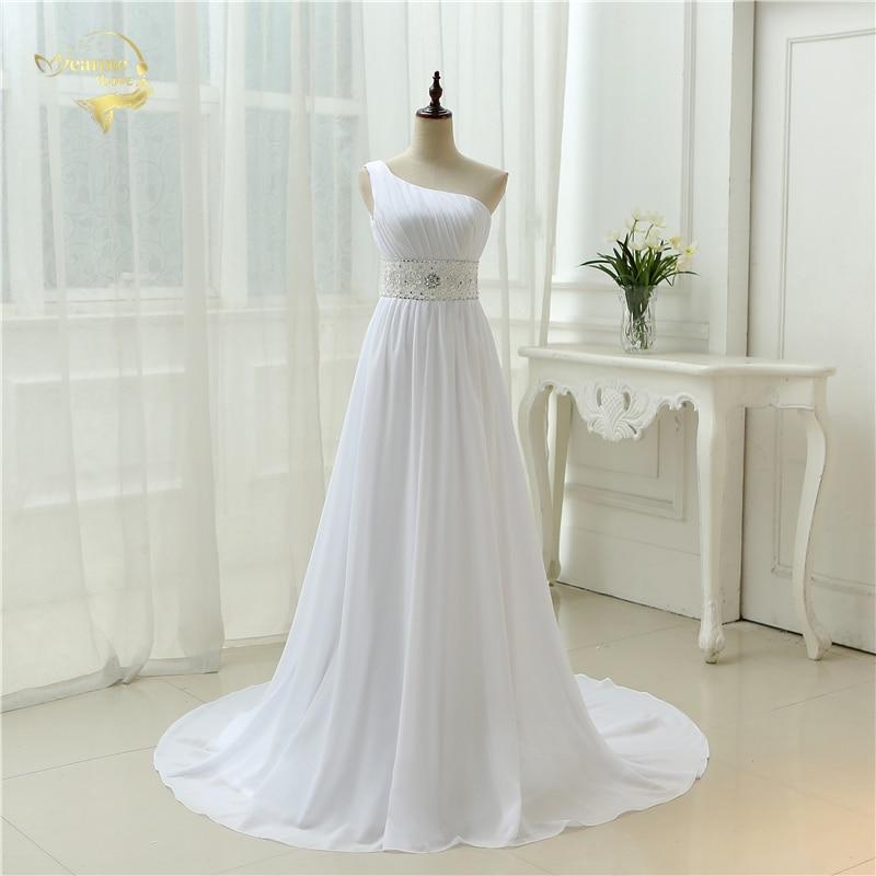 Sexy Open Back Vestidos De Novia 2020 White Long With Train Casamento Lace Chiffon One Shoulder Wedding Dresses OW 2042