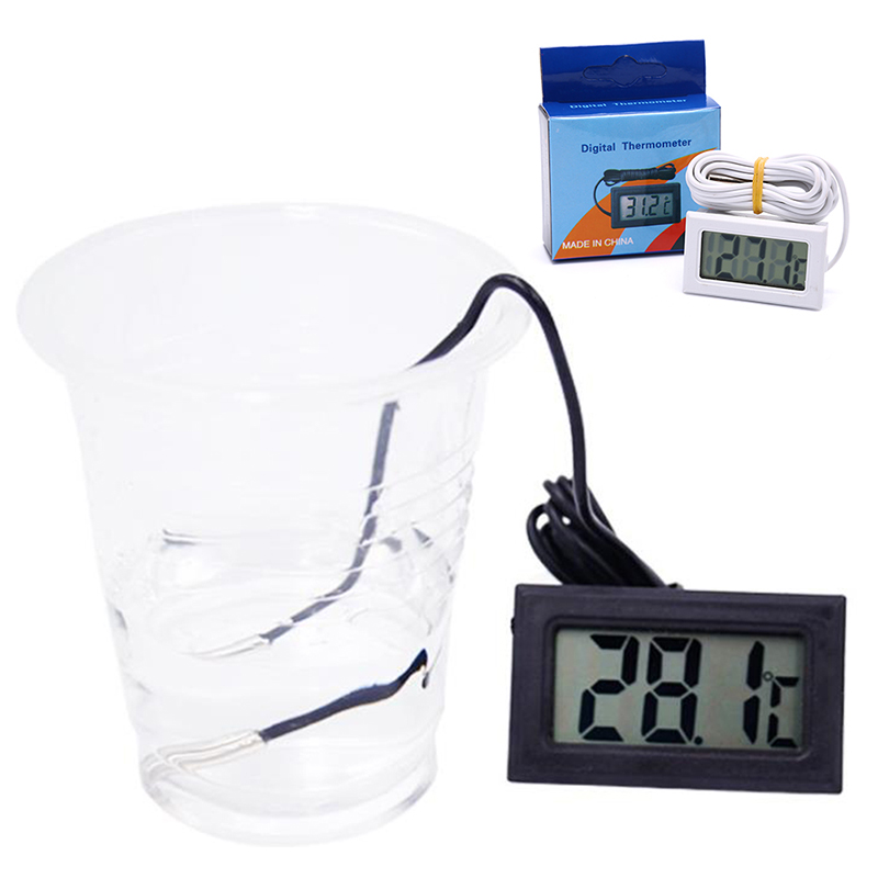 Digital LCD Thermometer Hygrometer Temperature Humidity Gauge With Probe For Vehicle Reptile Terrarium Fish Tank Refrigerator